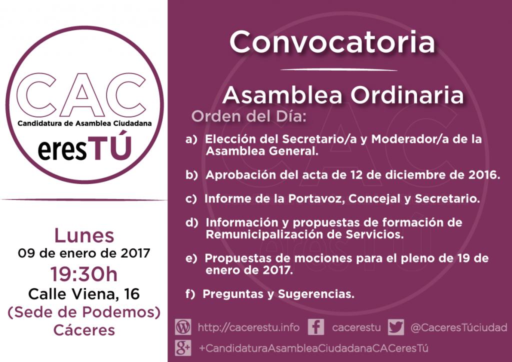 Cartel asamblea de cacerestu de 9 de enero de 2017