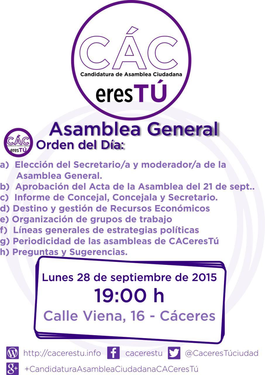 Asamblea de 28 de septiembre de 2015