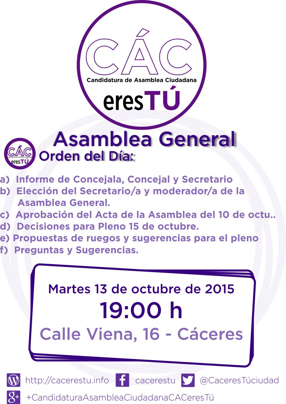 Cartel Asamblea General del 13 de octubre de 2015