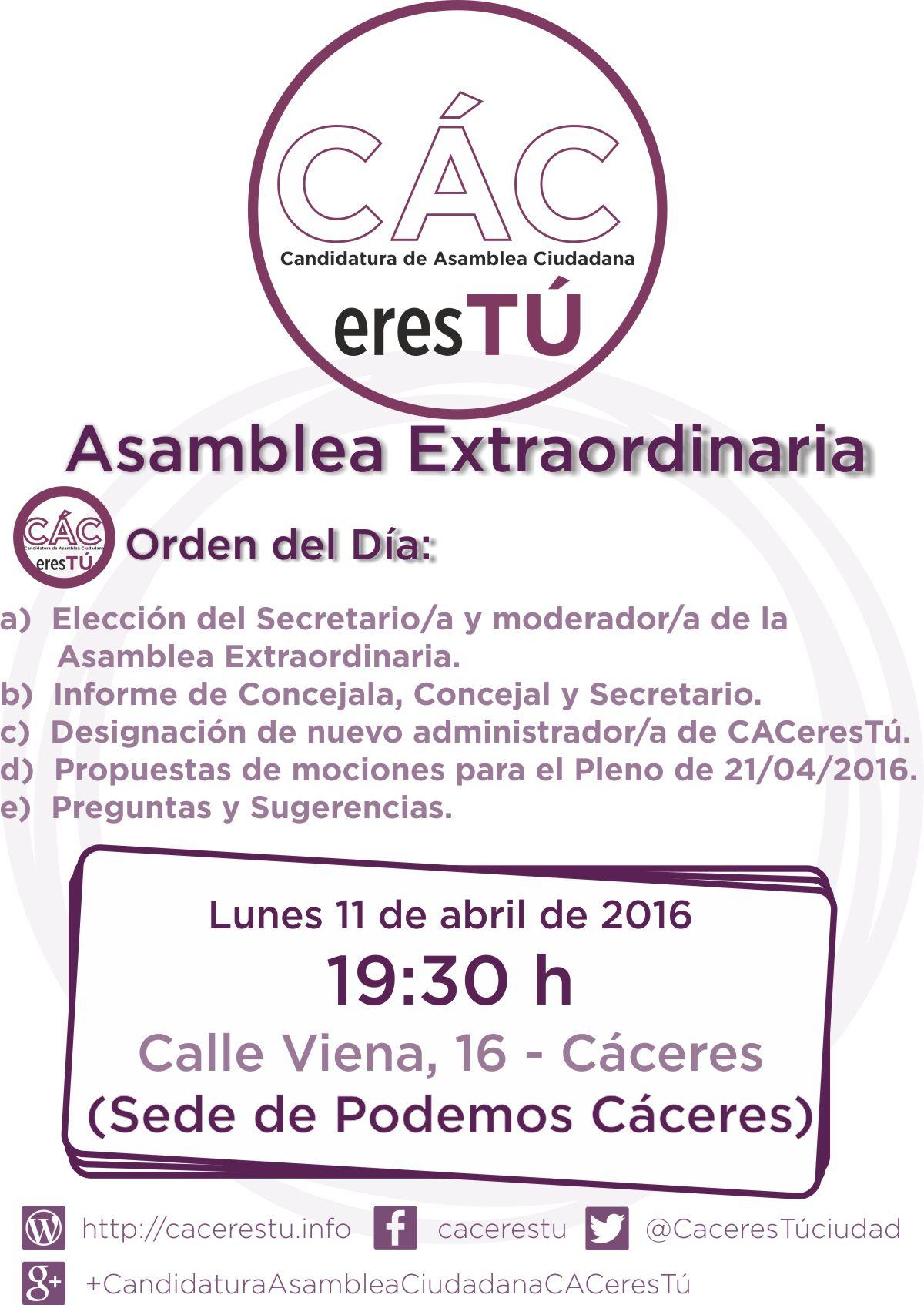 Asamblea Extraordinaria 11 de abril de 2016