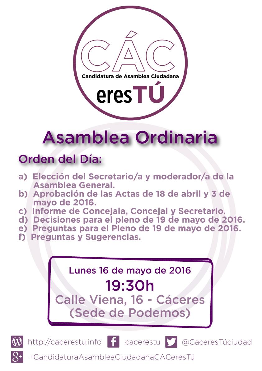 Asamblea de 16 de mayo de 2016