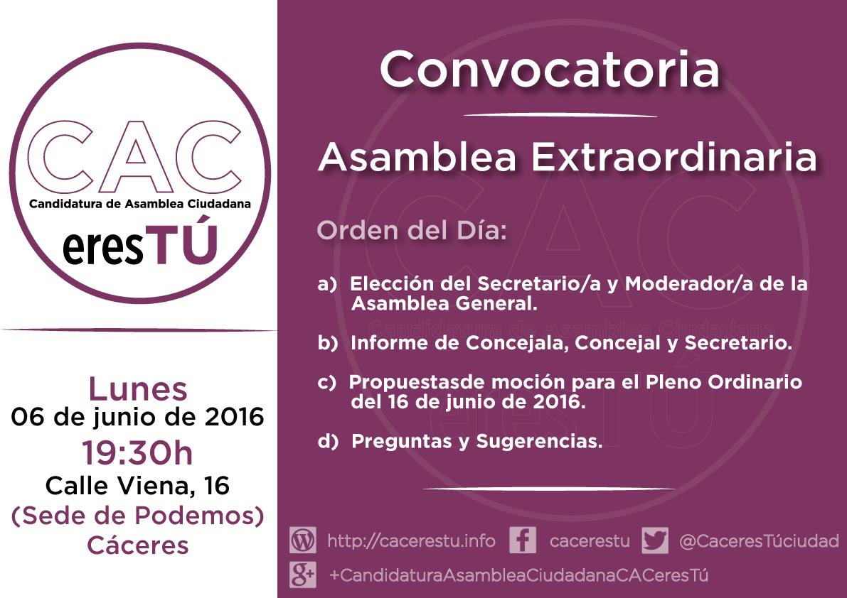 Asamblea Extraordinaria 06 de junio de 2016