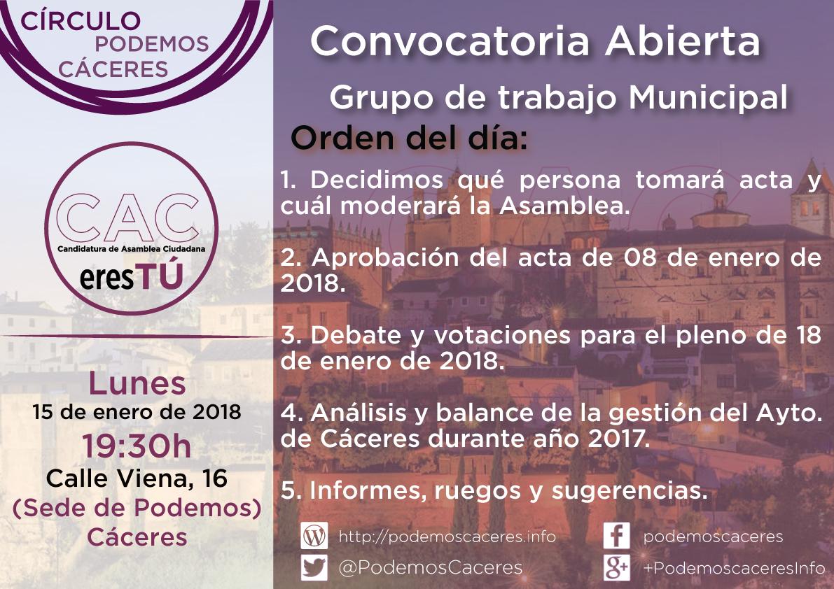Cartel Asamblea de CACeresTú 15 de enero de 2018
