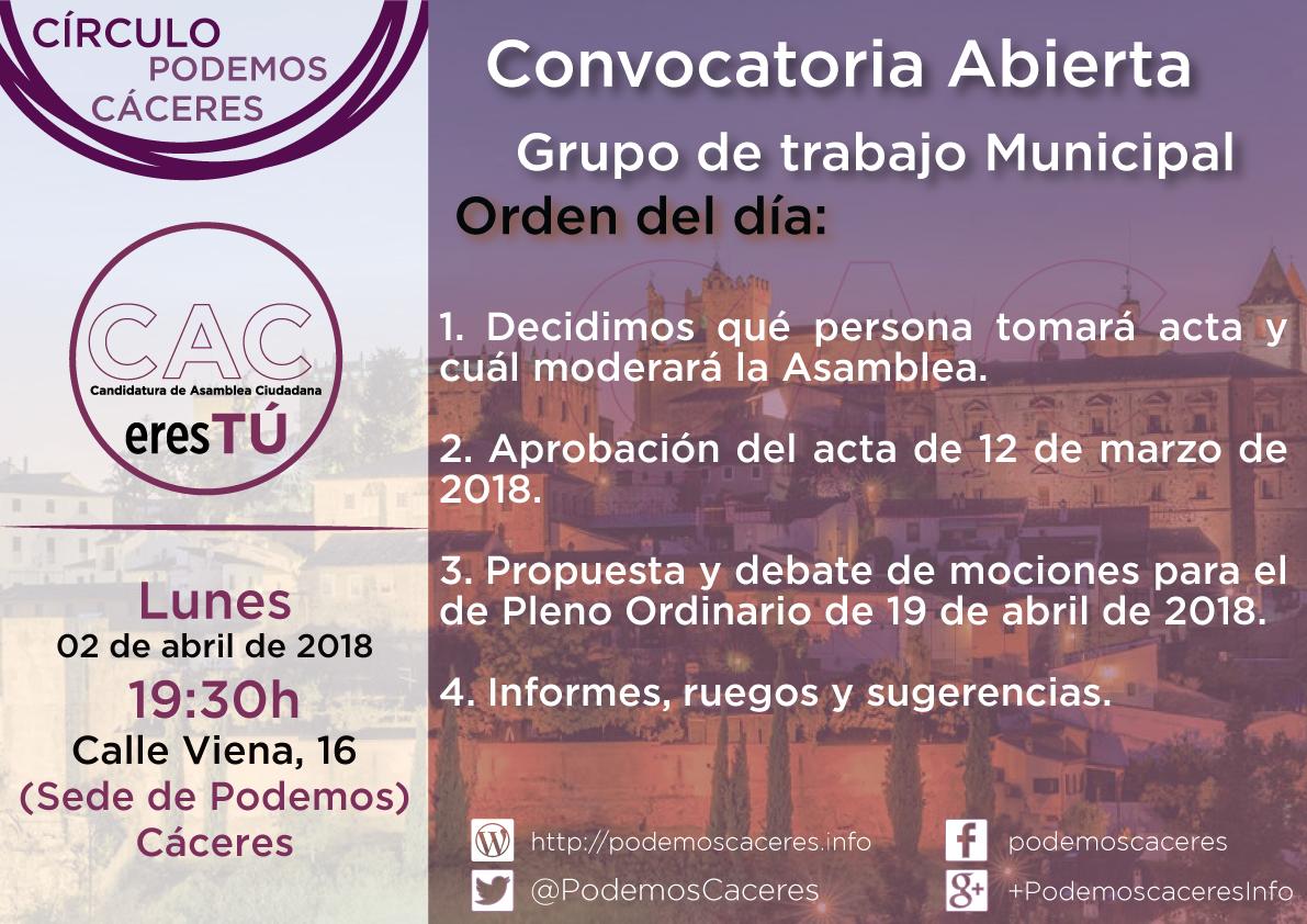Cartel Asamblea Grupo Municipal de 02 de abril de 2018