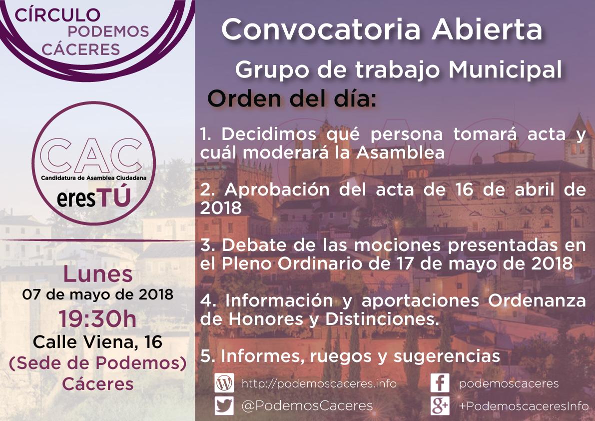 Cartel de la Asamblea de 7 de mayo de 2018 del Grupo Municipal CACerseTú