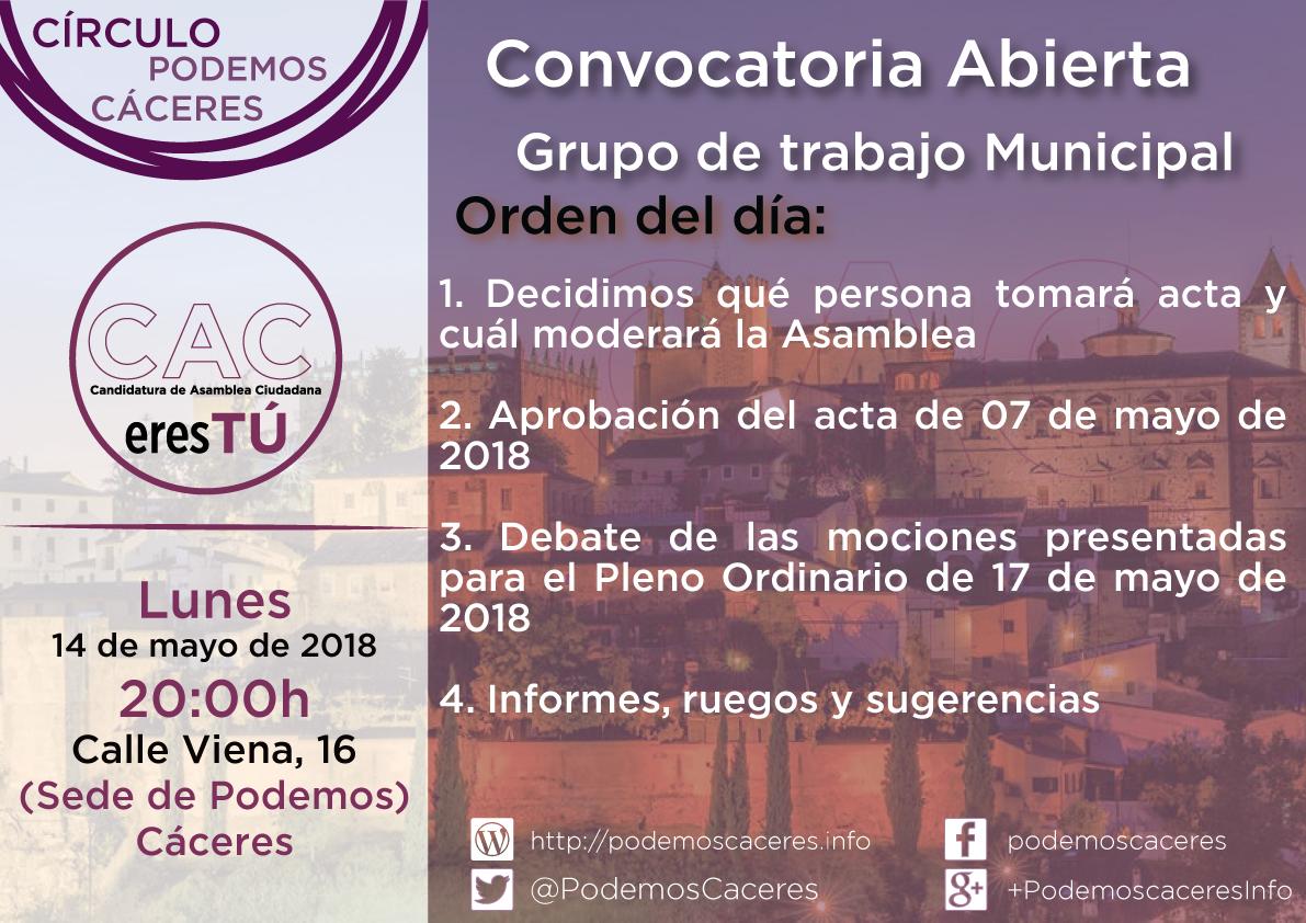 Cartel de convocatoria de asamblea de grupo de trabajo municipal de CACeresTú de 14 de mayo