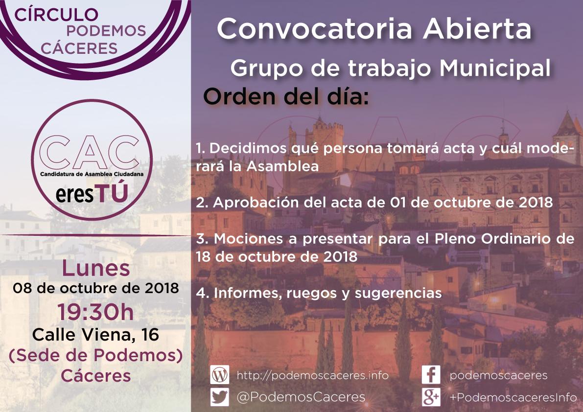 Cartel Asamblea 8 de octubre de 2018