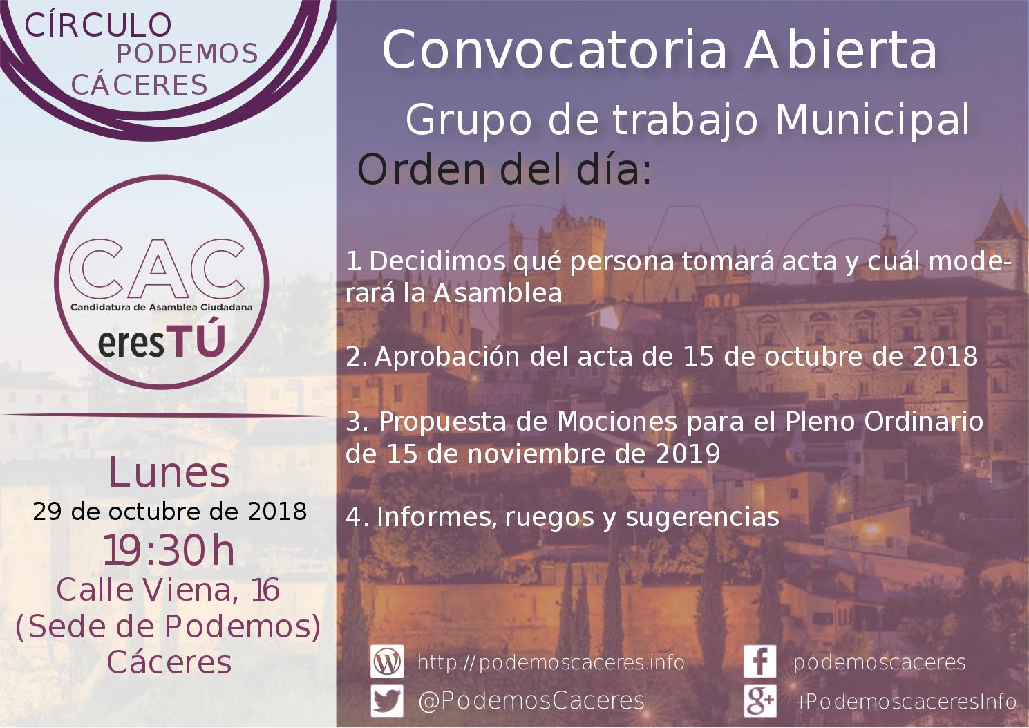 Cartel de la asamblea de 29 de octubre de 2018