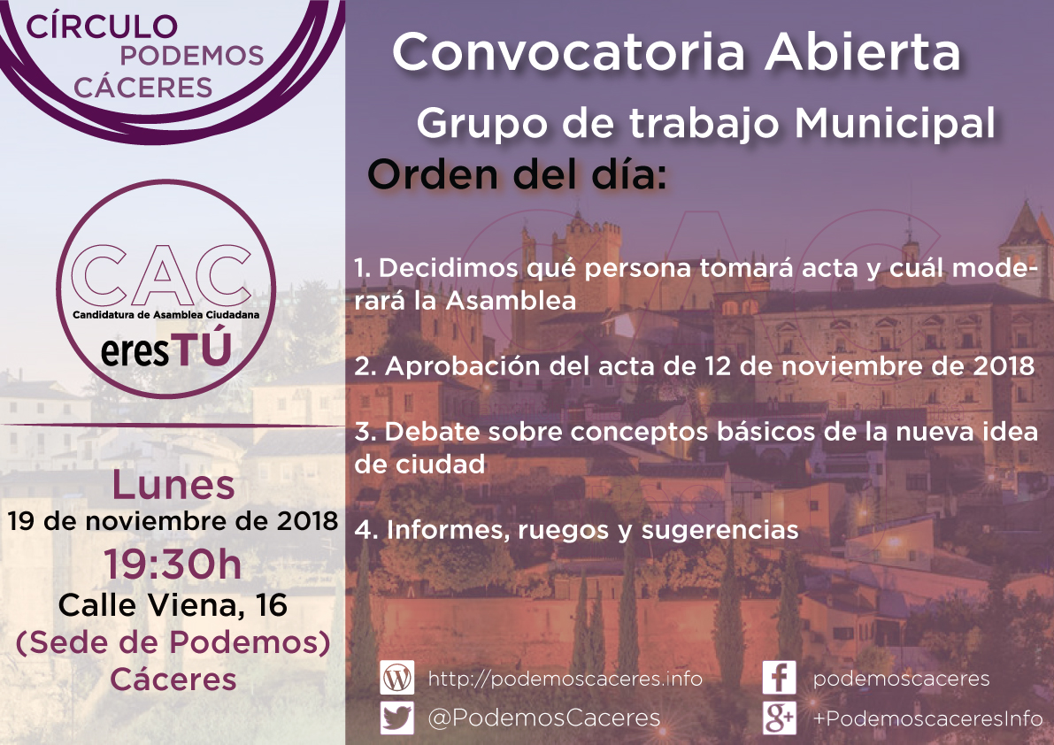 Cartel Asamblea 19 de noviembre de 2018 de CACeresTú