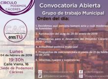 Asamblea de 4 de febrero de 2019 de CACeresTú