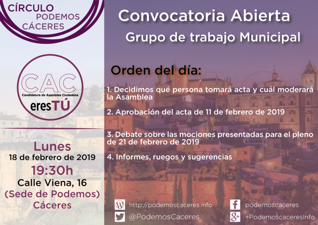 Cartel Asamblea de CACeresTú de 18 de febrero