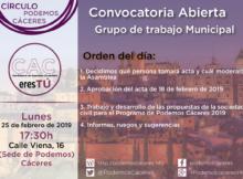 Cartel asamblea de 25 de febrero de Podemos Cáceres