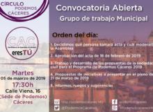 Cartes de asamblea de CACeresTú de 5 de marzo de 2019