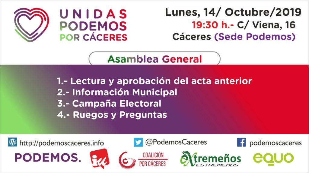 Convocatoria Asamblea Unidas Podemos por Cáceres, 14 de Octubre de 2019